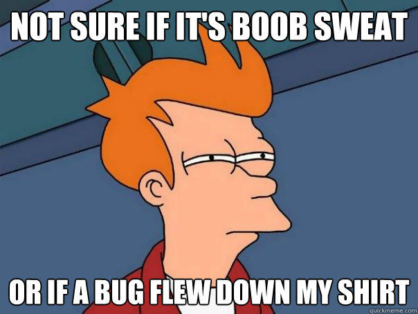 not sure if it's boob sweat or if a bug flew down my shirt  - not sure if it's boob sweat or if a bug flew down my shirt   Futurama Fry