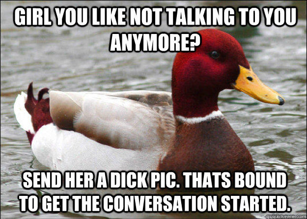 girl you like not talking to you anymore? send her a dick pic. Thats bound to get the conversation started. - girl you like not talking to you anymore? send her a dick pic. Thats bound to get the conversation started.  Malicious Advice Mallard