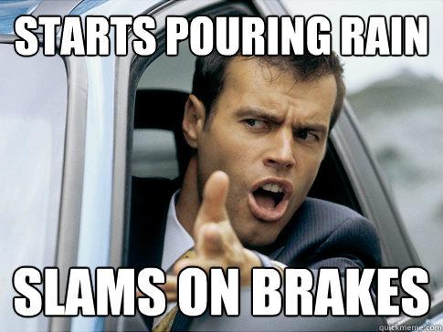 starts pouring rain slams on brakes  Asshole driver