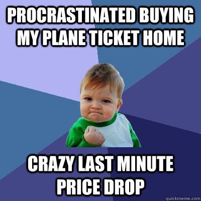Procrastinated buying my plane ticket home crazy last minute price drop - Procrastinated buying my plane ticket home crazy last minute price drop  Success Kid