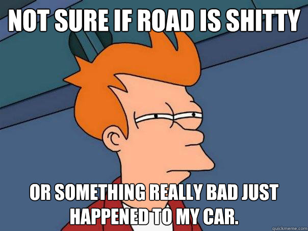 Not sure if road is shitty Or something really bad just happened to my car. - Not sure if road is shitty Or something really bad just happened to my car.  Futurama Fry