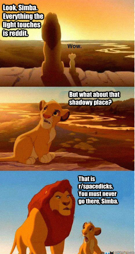 Look, Simba. Everything the light touches is reddit. But what about that shadowy place? That is r/spacedicks. You must never go there, Simba. - Look, Simba. Everything the light touches is reddit. But what about that shadowy place? That is r/spacedicks. You must never go there, Simba.  Mufasa and Simba