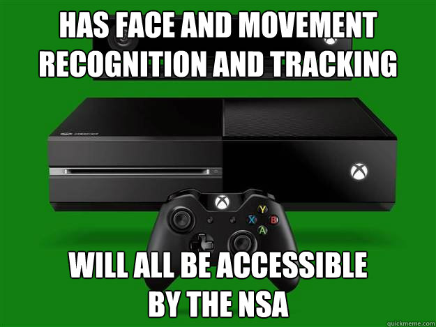 Has face and movement recognition and tracking Will all be accessible  by the nsa - Has face and movement recognition and tracking Will all be accessible  by the nsa  Xbox One and the NSA