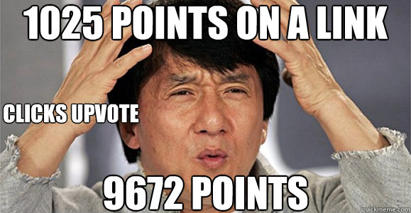 1025 points on a link 9672 points clicks upvote  Confused Jackie Chan