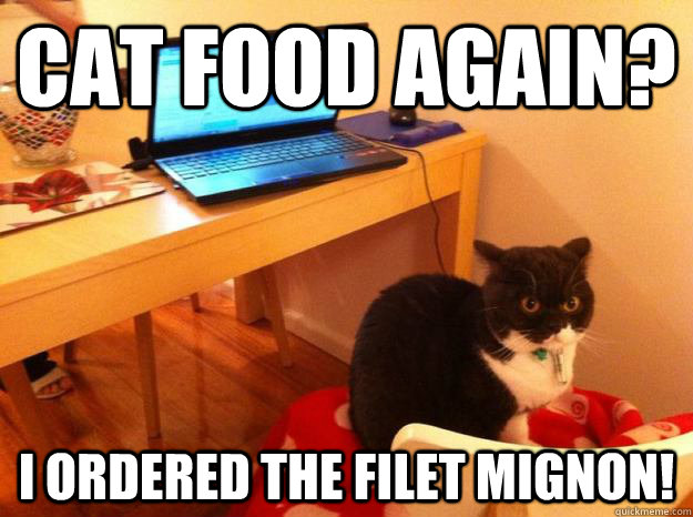Cat food again? I ordered the filet mignon!