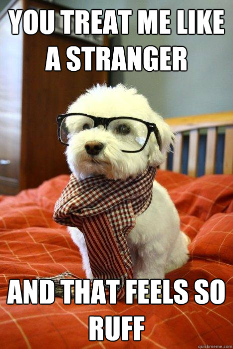 You treat me like a stranger and that feels so ruff - You treat me like a stranger and that feels so ruff  Hipster Dog