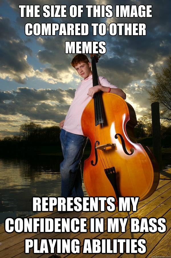 the size of this image compared to other memes represents my confidence in my bass playing abilities  Over-confident Bassist