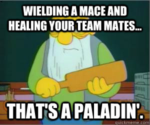 wielding a mace and healing your team mates... That's a paladin'.