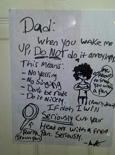 Kid Leaves Terrifying Note For Dad Demanding to Be Woke Up Nicely  -   Misc