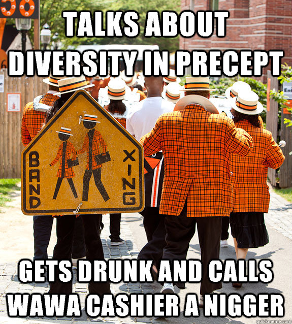 talks about diversity in precept gets drunk and calls wawa cashier a nigger