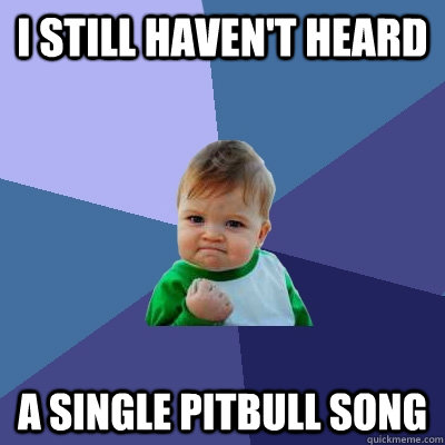 I still haven't heard a single Pitbull song - I still haven't heard a single Pitbull song  Success Kid
