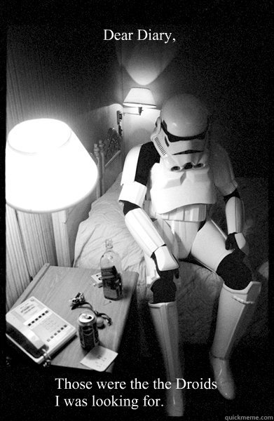 Dear Diary, Those were the the Droids I was looking for.