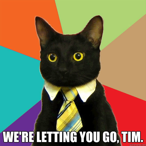 We're letting you go, tim.  -  We're letting you go, tim.   Business Cat