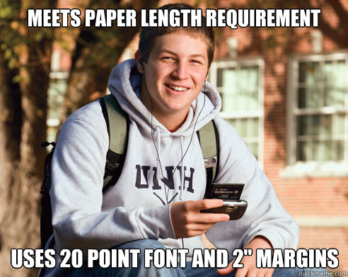 Meets paper length requirement uses 20 point font and 2