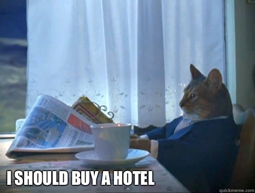 I should buy a hotel -  I should buy a hotel  The One Percent Cat