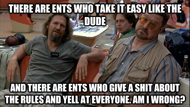There are ents who take it easy like the dude And there are ents who give a shit about the rules and yell at everyone. Am I wrong?