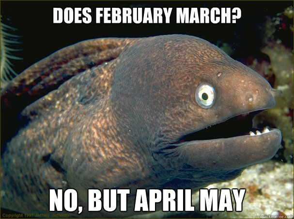 does february march? no, but april may - does february march? no, but april may  Bad Joke Eel