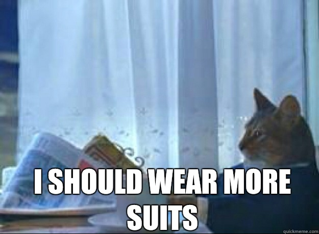 I should wear more suits  I should buy a boat cat