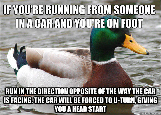 If you're running from someone in a car and you're on foot Run in the direction opposite of the way the car is facing. The car will be forced to u-turn, giving you a head start - If you're running from someone in a car and you're on foot Run in the direction opposite of the way the car is facing. The car will be forced to u-turn, giving you a head start  Actual Advice Mallard
