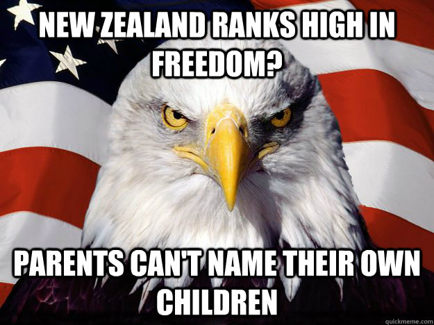 New Zealand ranks high in freedom? parents can't name their own children
