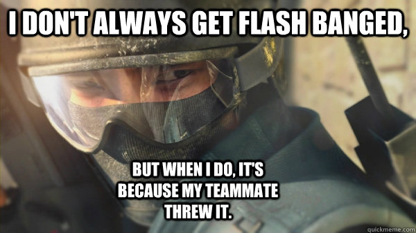 I don't always get flash banged, but when I do, it's because my teammate threw it.