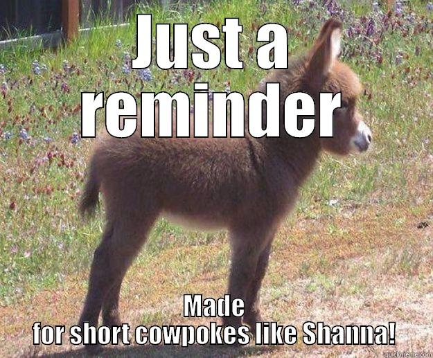 JUST A REMINDER MADE FOR SHORT COWPOKES LIKE SHANNA! in case you dont get any tonight