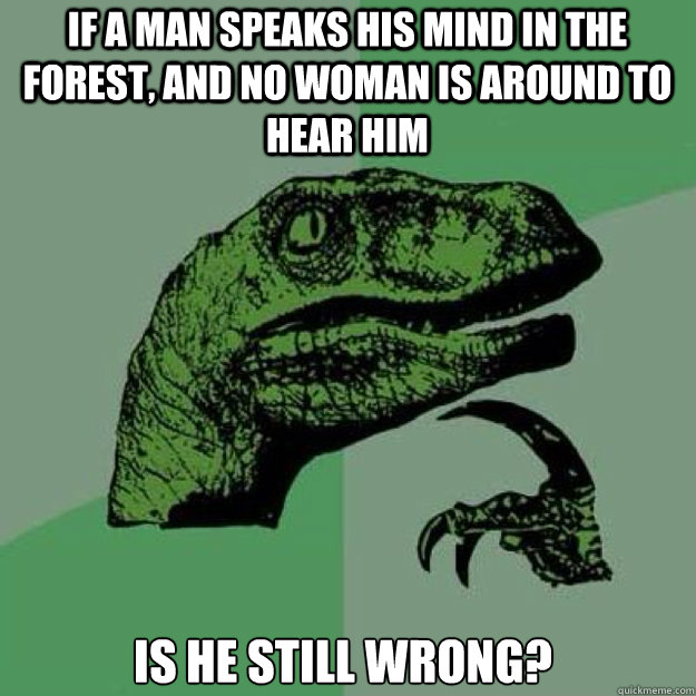 If a man speaks his mind in the forest, and no woman is around to hear him is he still wrong?