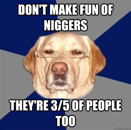 Don't make fun of niggers They're 3/5 of people too