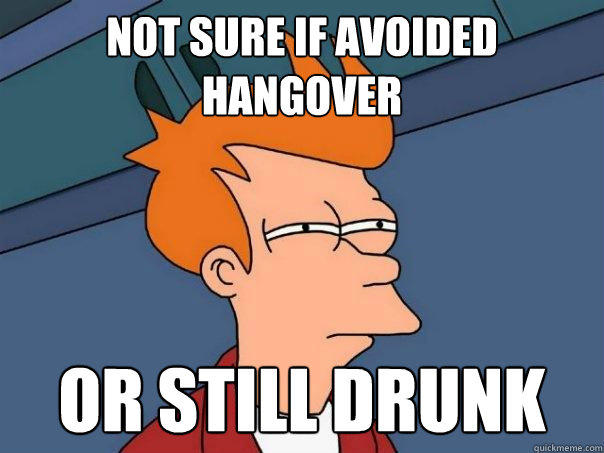 Not sure if avoided hangover Or still drunk - Not sure if avoided hangover Or still drunk  Futurama Fry