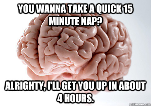 You wanna take a quick 15 minute nap? Alrighty, I'll get you up in about 4 hours.  - You wanna take a quick 15 minute nap? Alrighty, I'll get you up in about 4 hours.   Scumbag Brain