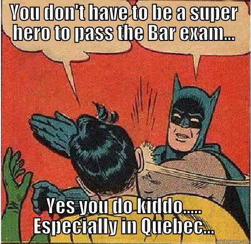 YOU DON'T HAVE TO BE A SUPER HERO TO PASS THE BAR EXAM... YES YOU DO KIDDO..... ESPECIALLY IN QUEBEC... Batman Slapping Robin