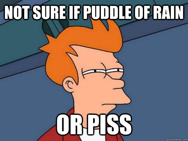 Not sure if puddle of rain Or piss - Not sure if puddle of rain Or piss  Futurama Fry