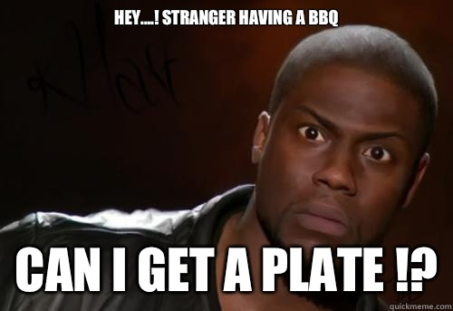 97b0cc65e64fa9ef6eb6eb85e7198eb378c25972f316219a8da212f061ffa20a hey ! stranger having a bbq can i get a plate !? kevin hart,Funny Bbq Meme