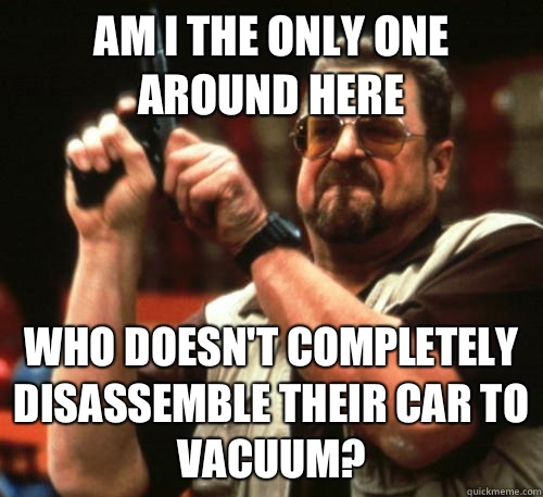 Am i the only one around here Who doesn't completely disassemble their car to vacuum? - Am i the only one around here Who doesn't completely disassemble their car to vacuum?  Am I The Only One Around Here