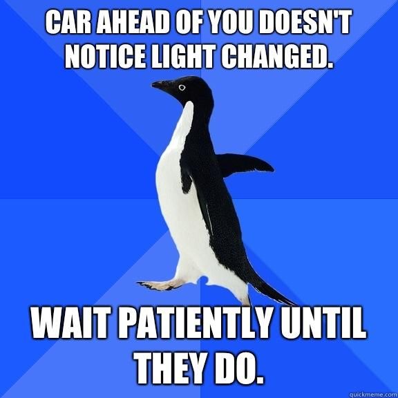 Car ahead of you doesn't notice light changed. Wait patiently until they do. - Car ahead of you doesn't notice light changed. Wait patiently until they do.  Socially Awkward Penguin
