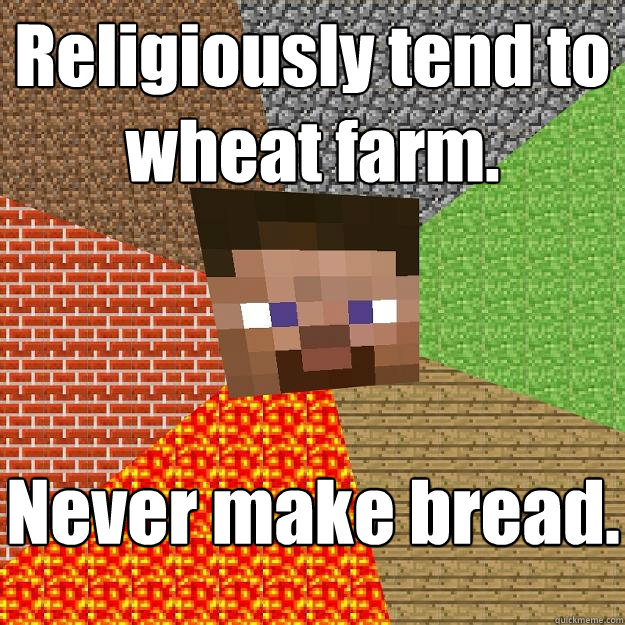 Religiously tend to wheat farm. Never make bread. - Religiously tend to wheat farm. Never make bread.  Minecraft