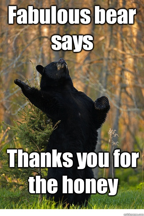 Fabulous bear says Thanks you for the honey  Fabulous Bear