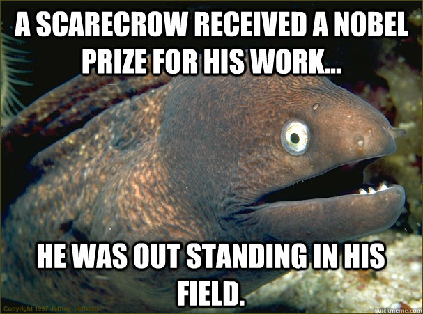 A scarecrow received a nobel prize for his work... He was out standing in his field. - A scarecrow received a nobel prize for his work... He was out standing in his field.  Bad Joke Eel
