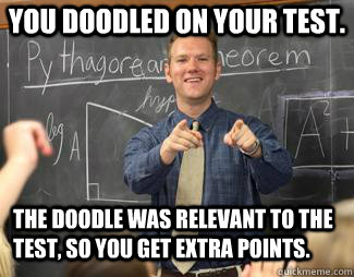 You doodled on your test. The doodle was relevant to the test, so you get extra points.