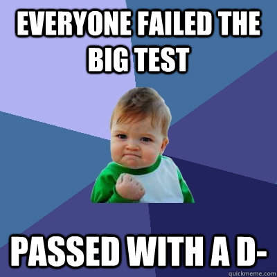 everyone failed the big test passed with a d- - everyone failed the big test passed with a d-  Success Kid