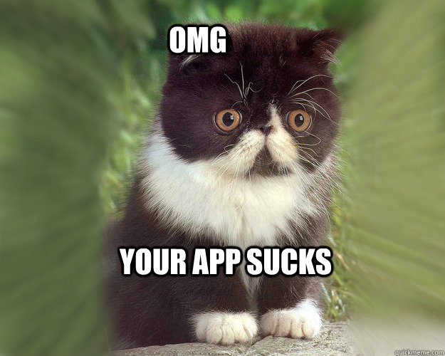 Your app sucks OMG  Surprised Cat Meme