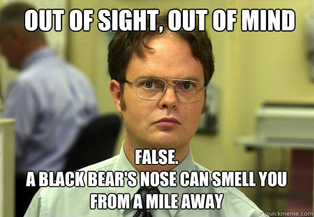 out of sight, out of mind FALSE.   a black bear's nose can smell you from a mile away - out of sight, out of mind FALSE.   a black bear's nose can smell you from a mile away  Schrute