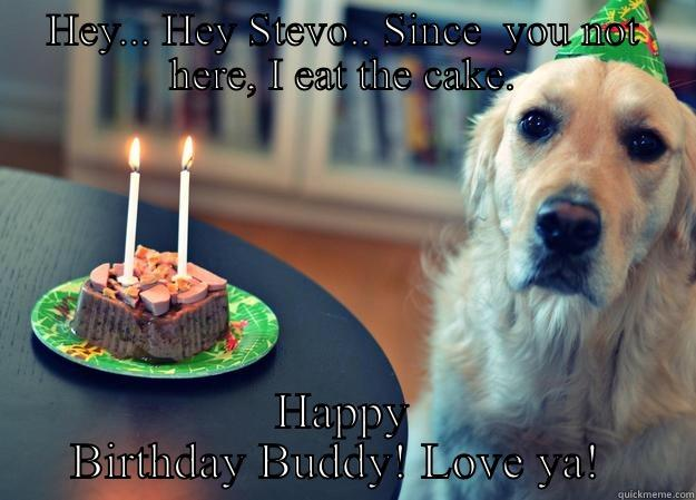 HEY... HEY STEVO.. SINCE  YOU NOT HERE, I EAT THE CAKE. HAPPY BIRTHDAY BUDDY! LOVE YA!  Sad Birthday Dog