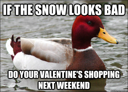 If the snow looks bad do your valentine's shopping next weekend - If the snow looks bad do your valentine's shopping next weekend  Malicious Advice Mallard