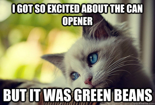 i got so excited about the can opener but it was green beans - i got so excited about the can opener but it was green beans  First World Cat Problems