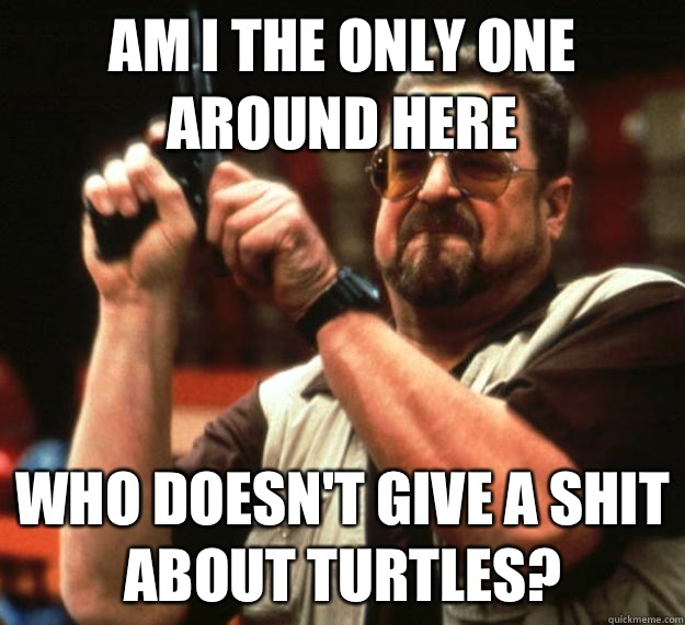 am I the only one around here Who doesn't give a shit about turtles?  Angry Walter
