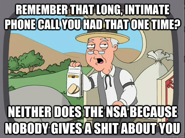 remember that long, intimate phone call you had that one time? neither does the nsa because nobody gives a shit about you - remember that long, intimate phone call you had that one time? neither does the nsa because nobody gives a shit about you  Pepperidge Farm Remembers