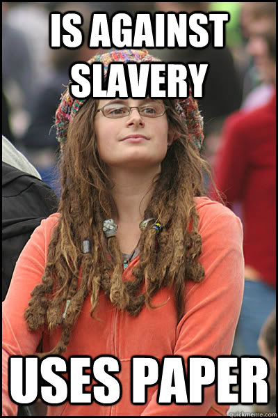 is against slavery uses paper  College Liberal