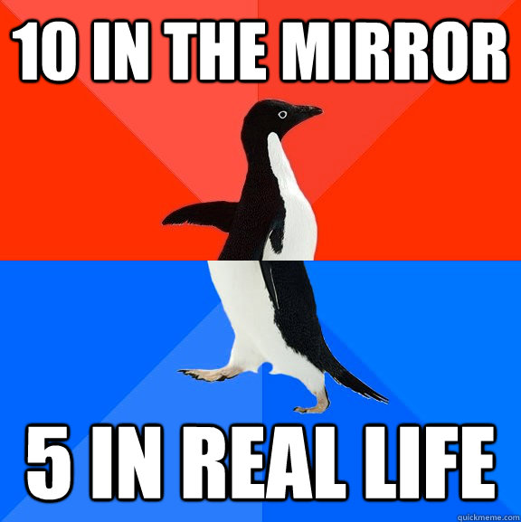 10 in the mirror 5 in real life - 10 in the mirror 5 in real life  Socially Awesome Awkward Penguin