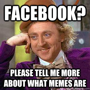 Facebook? Please tell me more about what memes are - Facebook? Please tell me more about what memes are  Condescending Wonka